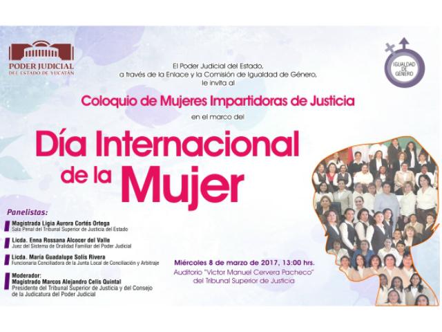 Convocan a coloquio por el Día Internacional de la Mujer en el Poder Judicial del Estado