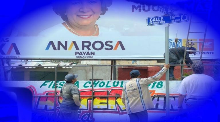 Ana Rosa Payán recibe apoyo del Ayuntamiento de Mérida; utilizan empleados para reparan espectaculares