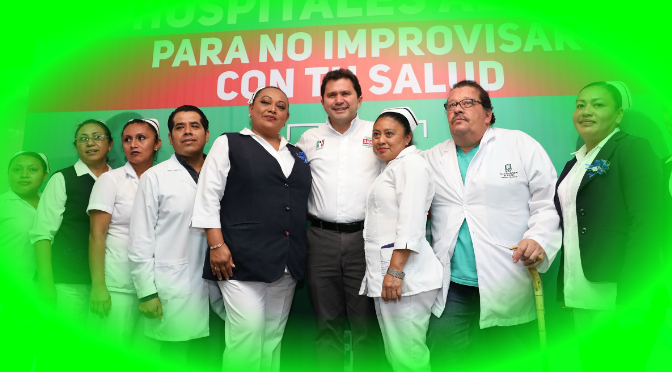 Medicamentos, 400 nuevas plazas y hospitales al 100 por ciento, promesas de Mauricio Sahuí
